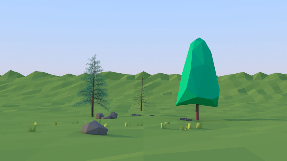 3D tree red pine model