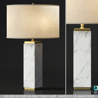 RH SQUARE COLUMN MARBLE TABLE LAMP