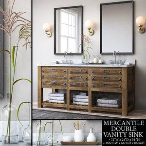 3D restoration mercantile double vanity