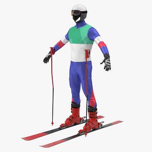 3D skier equipment generic ski