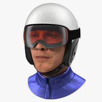 Skier Head in Helmet 3D Model