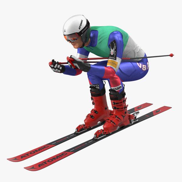 skier slide pose ski 3D model