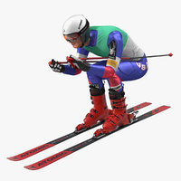 skier slide pose ski 3D model