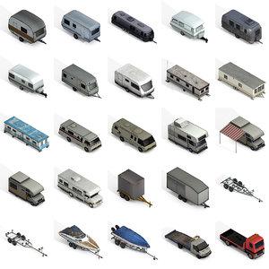 large trailers motorhomes 3D model