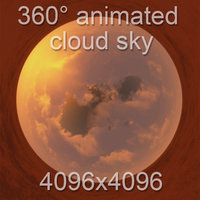360  sunset cloudy sky with cloud animation