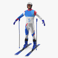 Downhill Olympic Skier 3D Model