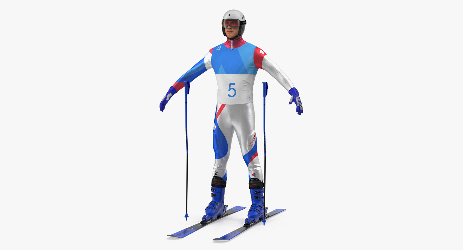 downhill olympic skier ski 3D model