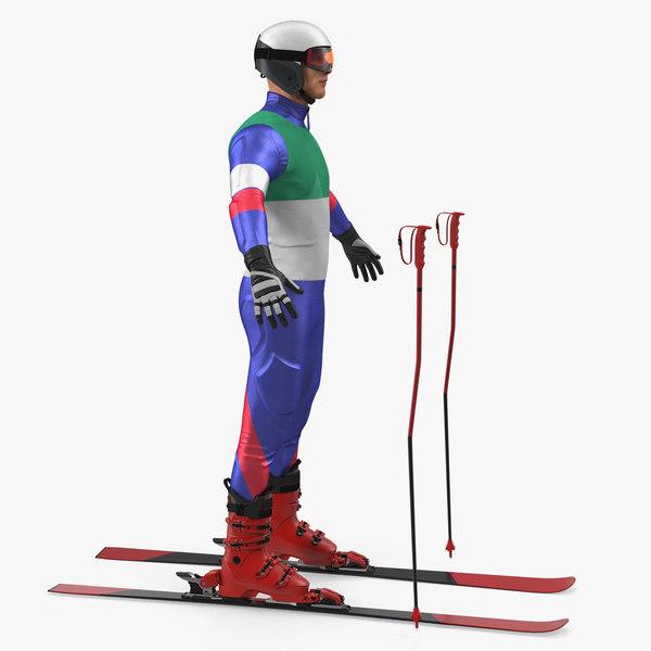 3D model downhill skier generic skis