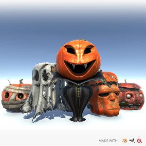 halloween spooky jack-o -lanterns 3D