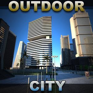city buildings outdoor 3d model