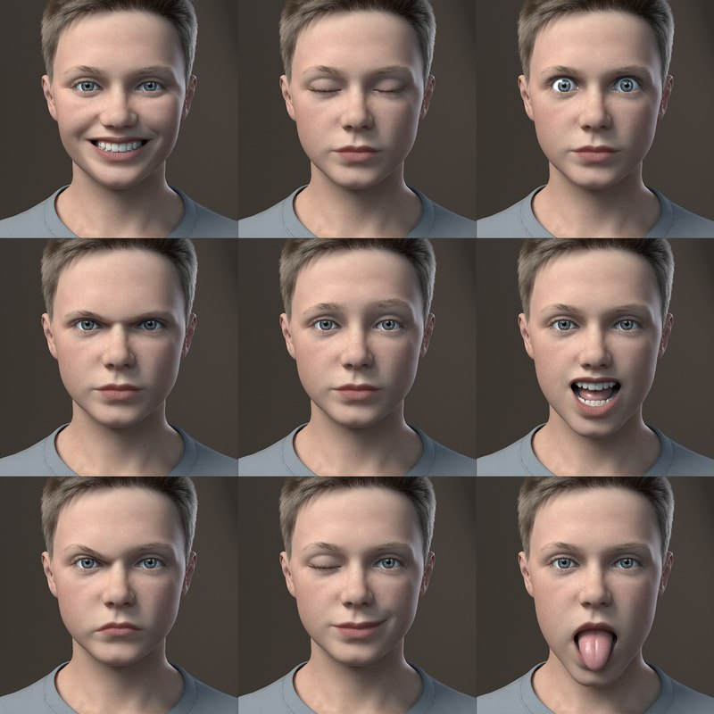 boy face expressions 3d model rigged