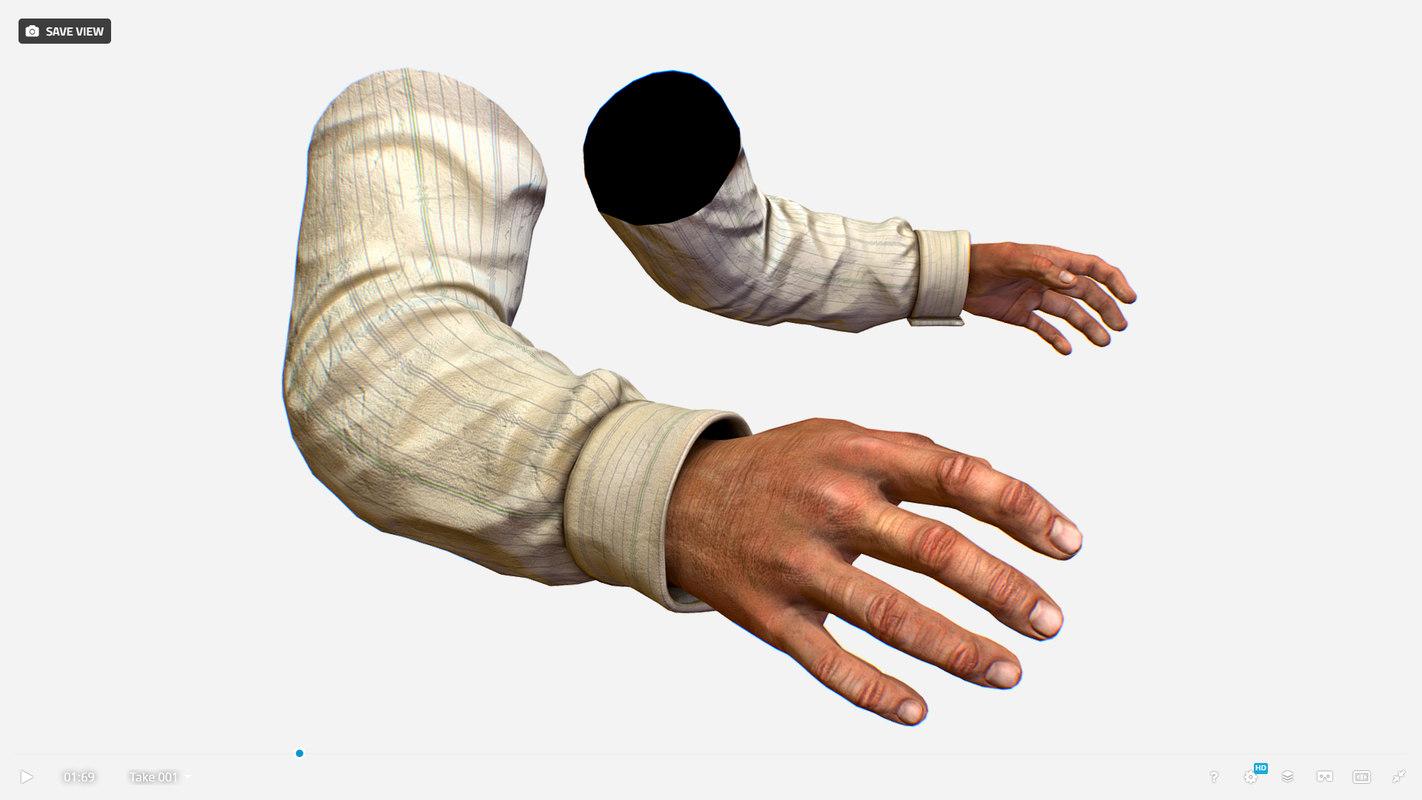 3D person arms shirt fps
