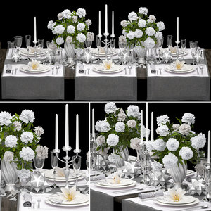 luxury table setting 3D model