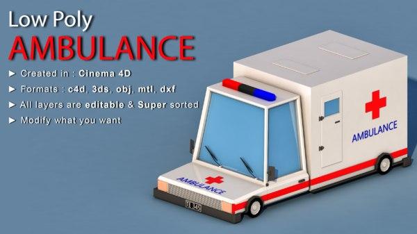 ambulance car cartoon 3D model