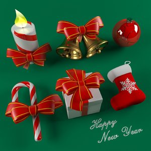 3D model new year happy