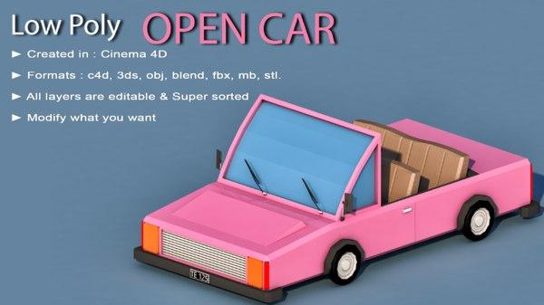 car cartoon open 3D model