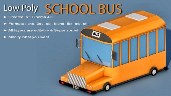 3D car school bus