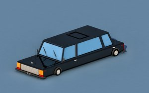 3D car cartoon limousine