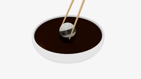 chopstick dip sphere sushi 3D model