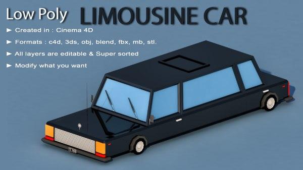 3D car cartoon limousine