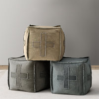 DISTRESSED CANVAS SQUARE POUF