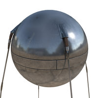 3D sputnik l satellite model