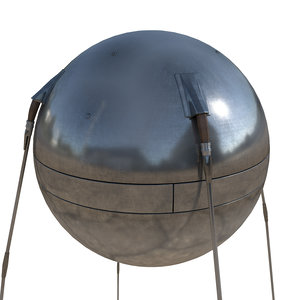3D sputnik l satellite model