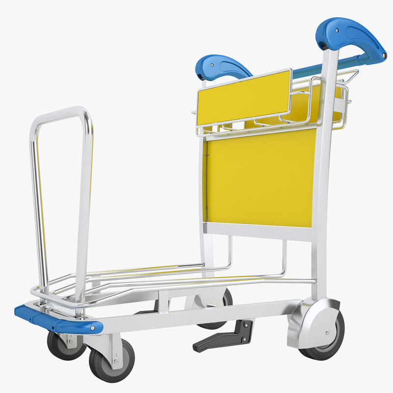 airport luggage trolley 3D model