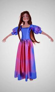 3D blue girl
