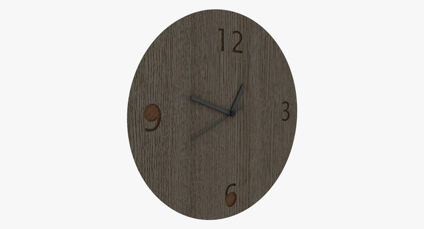 wood wall clock 3D