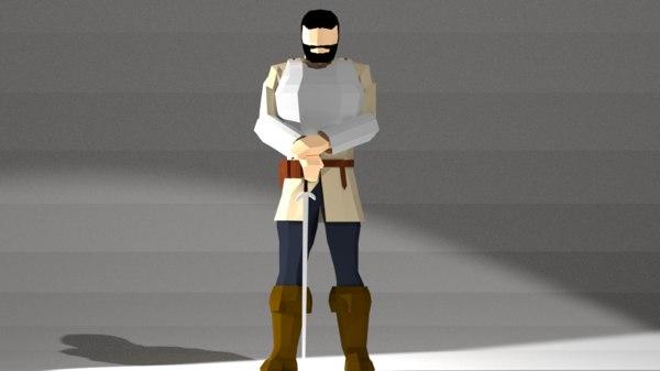 3D swordsman adventurer model