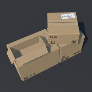 realistic cardboard boxes animation model