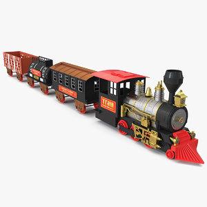 3D vintage train toy set
