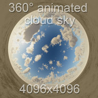 360 noon cloudy sky with cloud animation