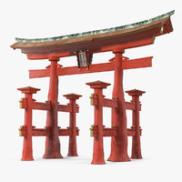 torii gate itsukushima shrine 3D model
