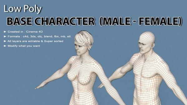 male female 3D model