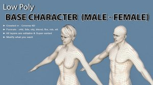 male female 3D model