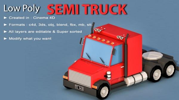 cartoon semi truck 3D model