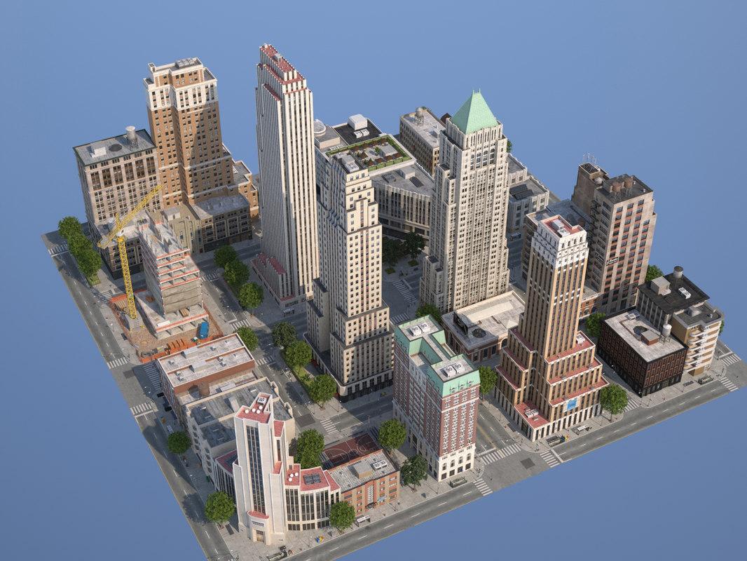 city art deco 3d model