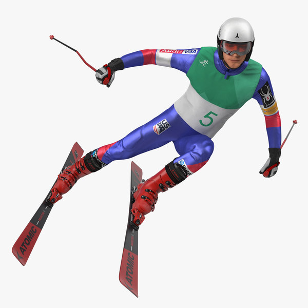 extreme downhill skier skiing 3D model