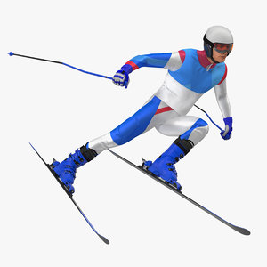 skier fast turn pose 3D model