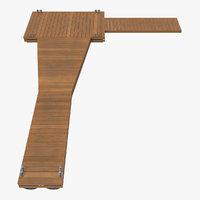 3D wooden pontoon flottant model
