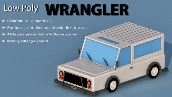 car cartoon wrangler 3D model