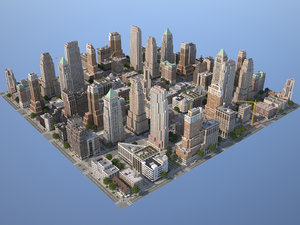 city art deco 3d model