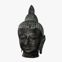 3D bronze buddhas head model