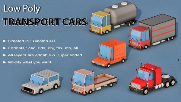 3D car cartoon transport