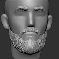 3D beard mustache eyebrows hairstyle