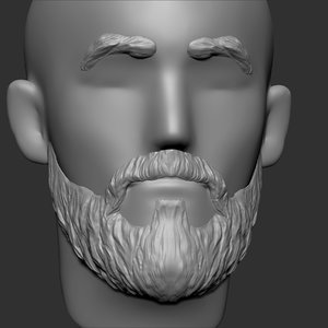 3D beard mustache eyebrows hairstyle