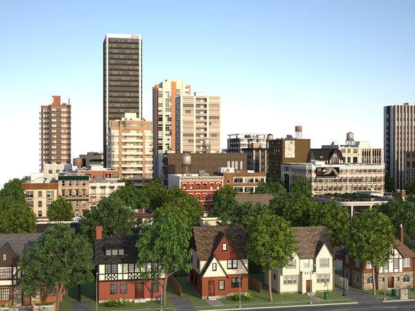 3d model city suburb