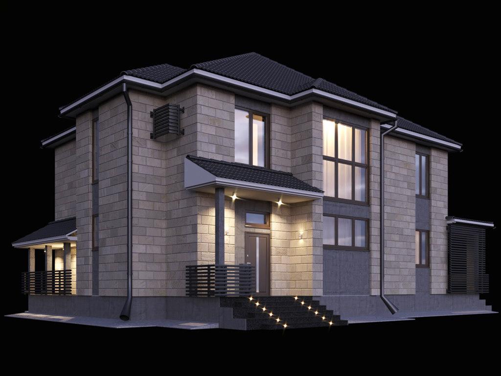 two-storey house terrace 3D model